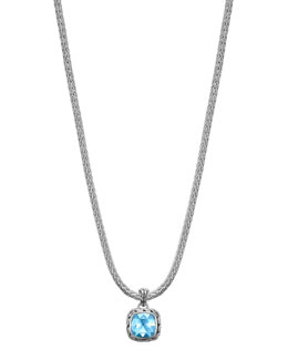 John Hardy Batu Chain Blue Topaz Pendant Necklace, Small