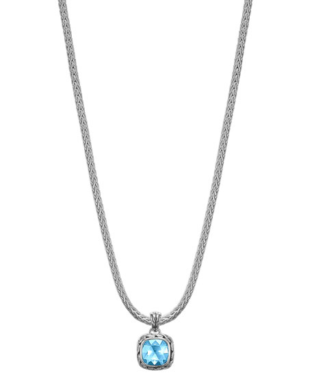 Batu Chain Blue Topaz Pendant Necklace, Small