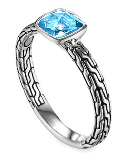 John Hardy Batu Chain Blue Topaz Ring, Small