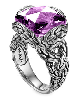 John Hardy Batu Chain Amethyst Ring, Medium
