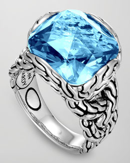 John Hardy Batu Chain Blue Topaz Ring, Medium