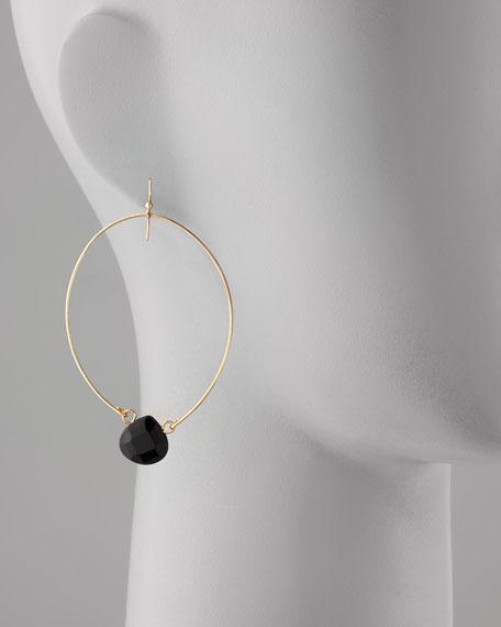 Teardrop-Crystal Hoop Earrings, Black