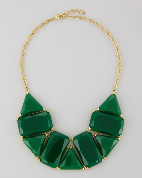 Faceted Resin-Crystal Bib Necklace, Emerald