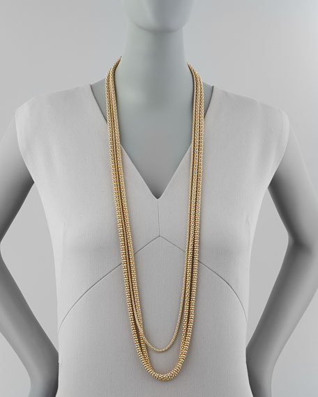 Long Layered Barrel-Chain Necklace