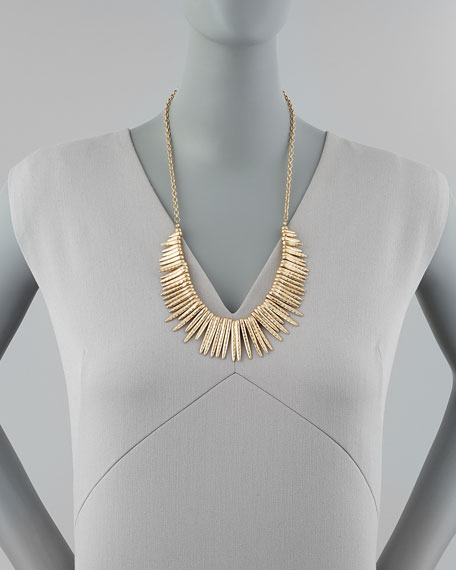 Hammered Spiked Fringe Necklace