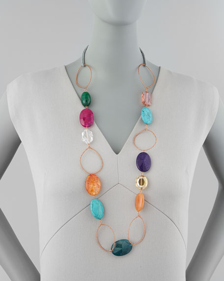 Multicolor Crystal-and-Wire Necklace