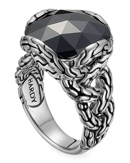 Batu Chain Hematite Ring, Medium
