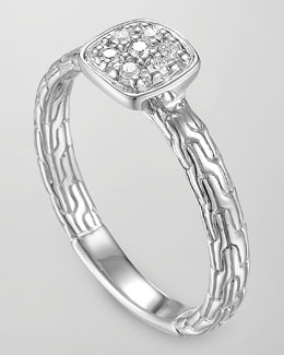 John Hardy Classic Chain Silver Diamond Station Ring