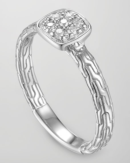 Classic Chain Silver Diamond Station Ring