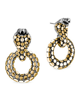 John Hardy Dot Gold/Silver Cobra Doorknocker Earrings
