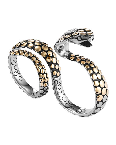 John Hardy Dot Gold/Silver Knuckle Snake Ring