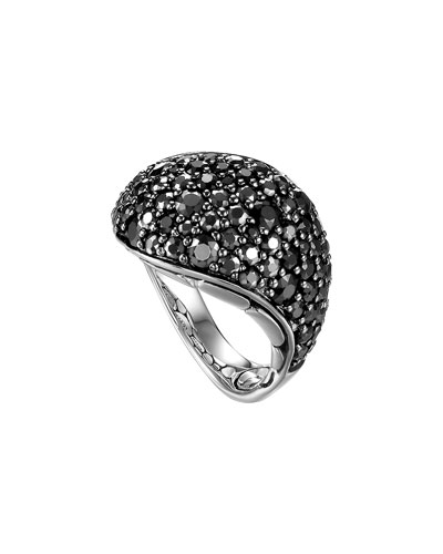 John Hardy Kali Silver Lava Ring with Black Sapphire