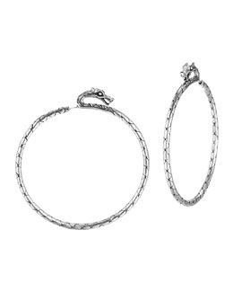 John Hardy Naga Large Silver Hoop Earrings with Full Closure