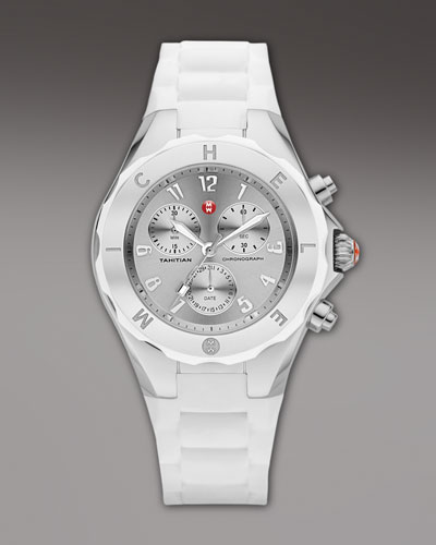 MICHELE Tahitian Large Jellybean Chronograph, White/Steel