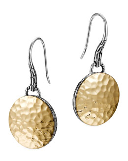 John Hardy Palu Gold-Plate/Silver Round Drop Earrings