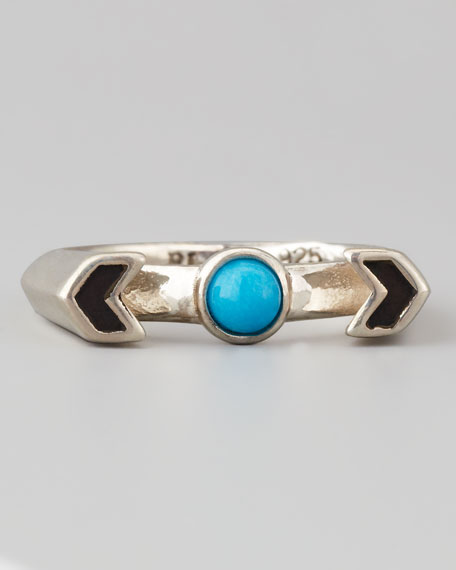 Silver Chevron Reveal Ring, Turquoise