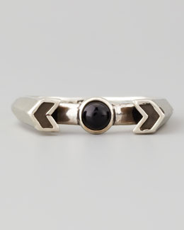 Pamela Love Silver Chevron Reveal Ring, Onyx