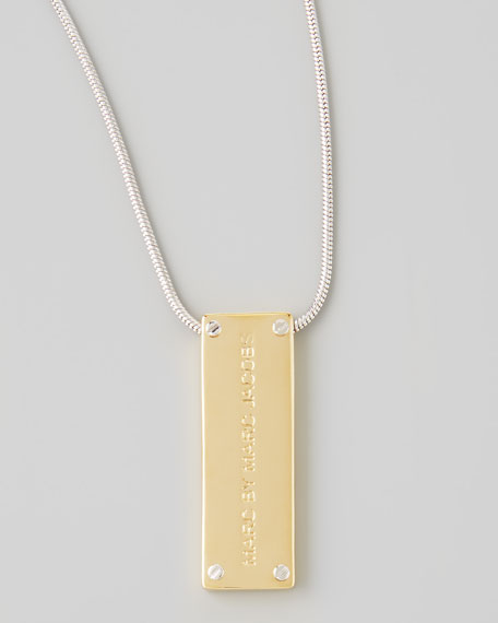Logo ID Pendant Necklace, Yellow Golden