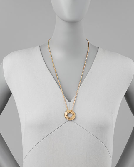Cable Link-Pendant Necklace, Yellow Golden