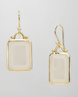 Elizabeth Showers Deco 18k Gold Emerald-Cut Moonstone Earrings