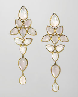 Elizabeth Showers Mariposa 18k Gold Long Milky Quartz Chandelier Earrings