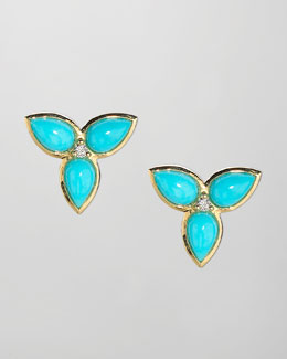 Elizabeth Showers Mariposa 18k Gold Mini Turquoise Earrings