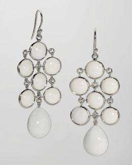 Elizabeth Showers Juliette Chandelier Earrings, White Agate