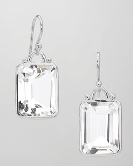 Elizabeth Showers Deco Emerald-Cut White Quartz Earrings
