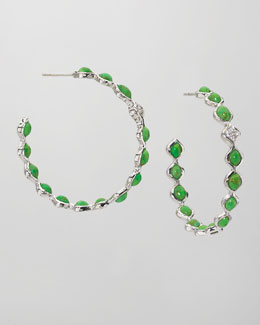 Elizabeth Showers Simone Large Eternity Hoop Earrings, Green Turquoise