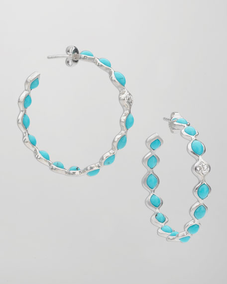 Simone Large Eternity Hoop Earrings, Blue Turquoise