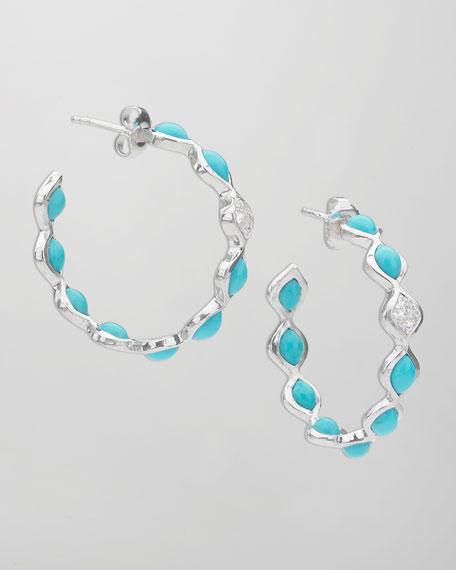 Simone Small Eternity Hoop Earrings, Blue Turquoise