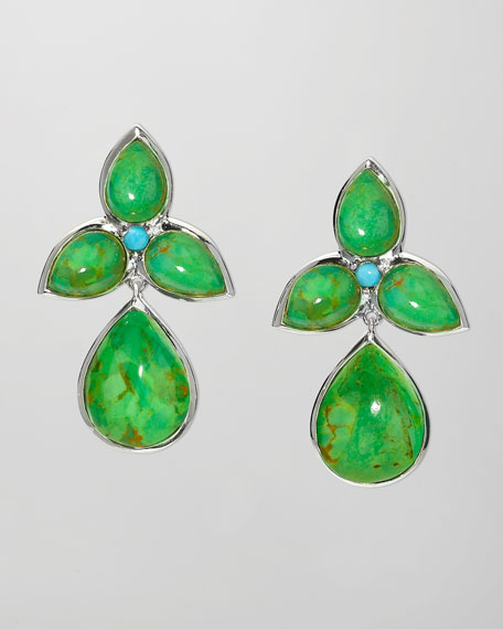 Mariposa Drop Earrings, Green Turquoise
