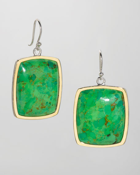 Deco 18k Gold Green Turquoise Earrings