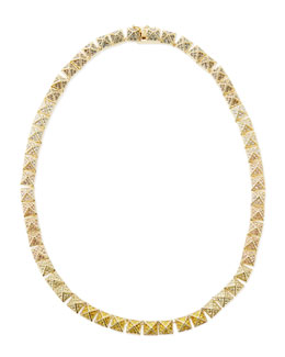 Eddie Borgo Small Pave Ombre Crystal Pyramid Necklace, Yellow/Pink