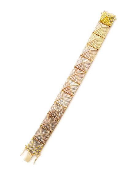 Eddie Borgo Large Pave Ombre Crystal Pyramid Bracelet, Yellow/Pink
