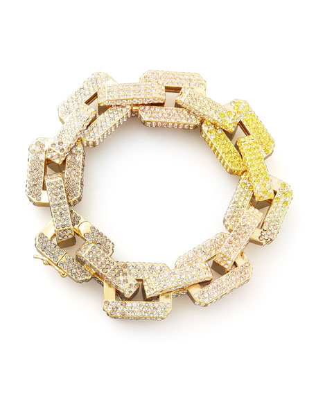 Supra Large Pave-Link Chain Bracelet, Yellow/Pink
