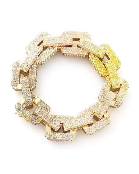 Eddie Borgo Supra Large Pave-Link Chain Bracelet, Yellow/Pink