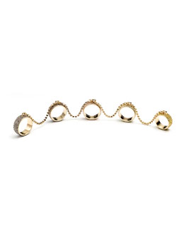 Eddie Borgo Pave Crystal Five-Finger Rings