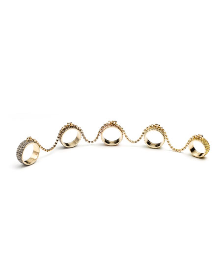 GOLD PAVE FIVE FINGER RING
