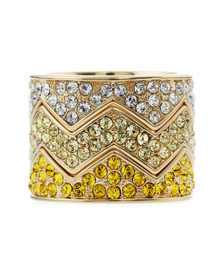 Pave Bear-Trap Stackable Ring Set, Yellow Gold