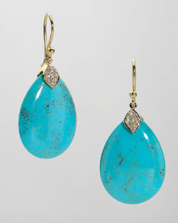 Elizabeth Showers Eliza Large Blue Turquoise Teardrop Earrings