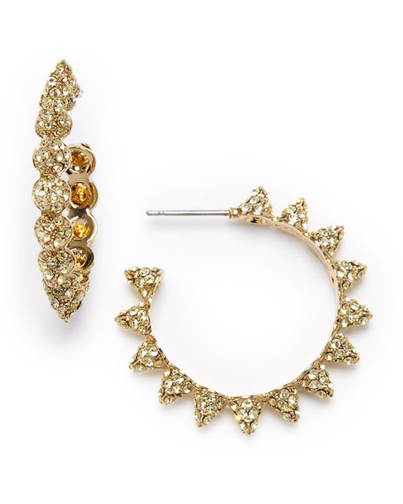 Pave Small Cone Hoop Earrings