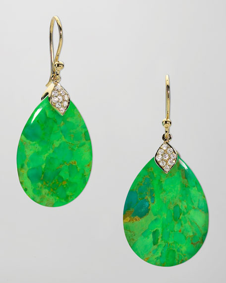 Eliza Large Green Turquoise Teardrop Earrings