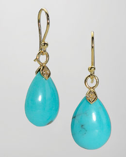 Elizabeth Showers Eliza Small Blue Turquoise Teardrop Earrings