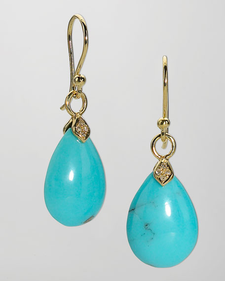 Small Blue Earrings: Elizabeth Showers Eliza Small Blue Turquoise Teardrop Earrings
