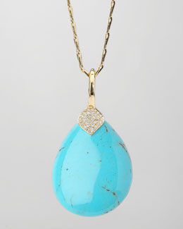 Elizabeth Showers Eliza Large Blue Turquoise Pendant Necklace