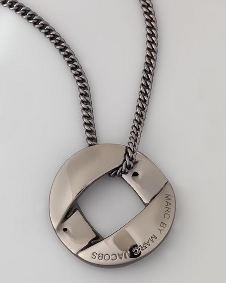 Cable Link-Pendant Necklace, Gunmetal