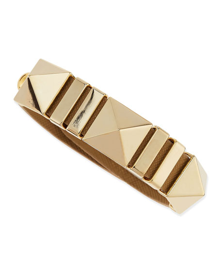 Faux-Leather Pyramid Bracelet, Tan