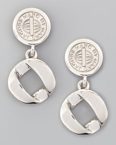 Cable Link-Drop Earrings, Silvertone