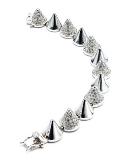 Eddie Borgo Alternating-Pave Cone Bracelet, Silver Plated